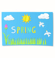kids cut paper art for spring vector image vector image