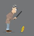 man detective looking through a magnifying glass vector image vector image