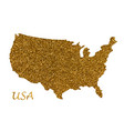 map usa silhouette with golden glitter texture vector image