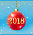 merry christmas 2018 decoration on blue background vector image vector image