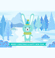 merry christmas and happy new year cute rabbit vector image
