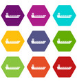 oil tanker ship icon set color hexahedron vector image vector image