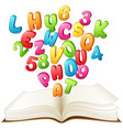 open book with a colorful letter and number vector image