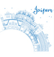 Outline Jaipur Skyline with Blue Landmarks vector image vector image