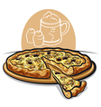 pizza with mushrooms vector image vector image
