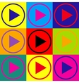Play sign Pop-art style icons set vector image