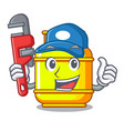plumber gas tank cylinder isolated on mascot vector image