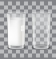 realistic transparent glasses of milk vector image vector image