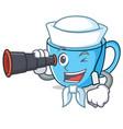 sailor with binocular tea cup mascot cartoon vector image vector image