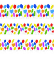 seamless border of flat colored isolated balloons vector image