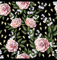 seamless pattern with pink roses leaves vector image vector image