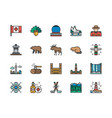set canadian culture color line icons sports vector image