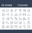 Set flat line icons fishing