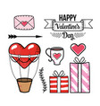 set love card with heart air balloon and presents vector image