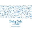 sketched dairy elements sale vector image vector image