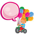 small boy ride tricycle with balloons vector image vector image