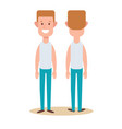 standing young man boy character in front and vector image
