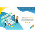testing software landing page website vector image