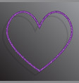 the heart banner of purple sequins background vector image