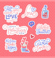 valentine s day lettering stickers collection set vector image