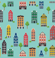 vintage pattern with beautiful houses on a blue ba vector image