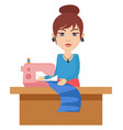 woman with knitting machine on white background vector image vector image