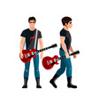 young musician playing guitar vector image vector image