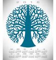 2016 round blue tree calendar vector image vector image