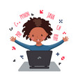 african american happy boy learning coding vector image