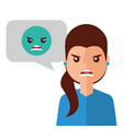 angry young woman with emoticon avatar character vector image