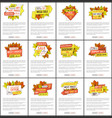 autumn discount on thanksgiving posters set vector image vector image