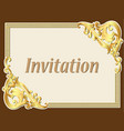 background frame vintage invitation with gold vector image vector image