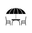 beach table and chairs black icon sign on vector image vector image
