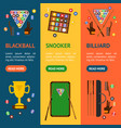 billiard game equipment banner vecrtical set vector image vector image
