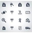 black real estate icon set vector image vector image