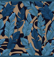 blue banana leaves seamless abstract backgorund vector image vector image