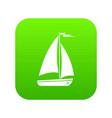 boat icon digital green vector image vector image