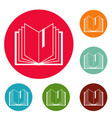 book bookmark icons circle set vector image vector image
