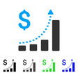 business bar chart positive trend flat icon vector image vector image
