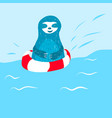 cartoon cute blue sloth swims vector image