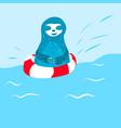 cartoon cute blue sloth swims vector image vector image