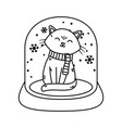 cat in crystal ball snow celebration merry vector image vector image