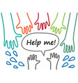 child hand lines symboll rescue help support vector image vector image