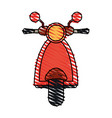 color crayon stripe image front view red scooter vector image
