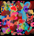 colorful abstract love hearts seamless pattern vector image