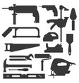 construction building tools silhouette carpenter vector image vector image