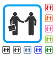 contract handshake meeting framed icon vector image vector image