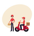 courier delivery service worker holding package vector image vector image