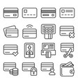 credit cart icons set on white background line vector image vector image