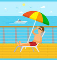 cruise liner and yacht sunbathing man vector image vector image